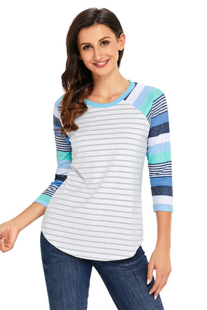 Light Blue Stripes Raglan Sleeve Top
