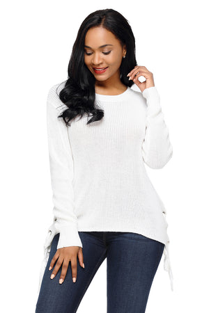 White Long Sleeve Lace up Sided Sweater