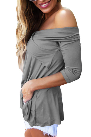 Gray Cross Front Off The Shoulder Top