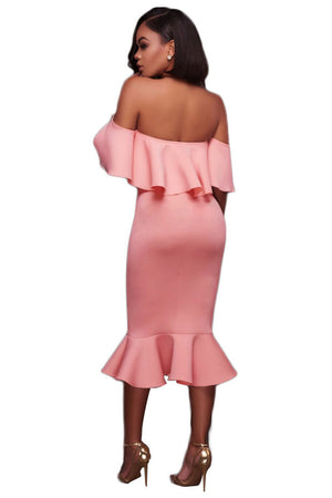 Pink Ruffle Off Shoulder Mermaid Midi Party Dress