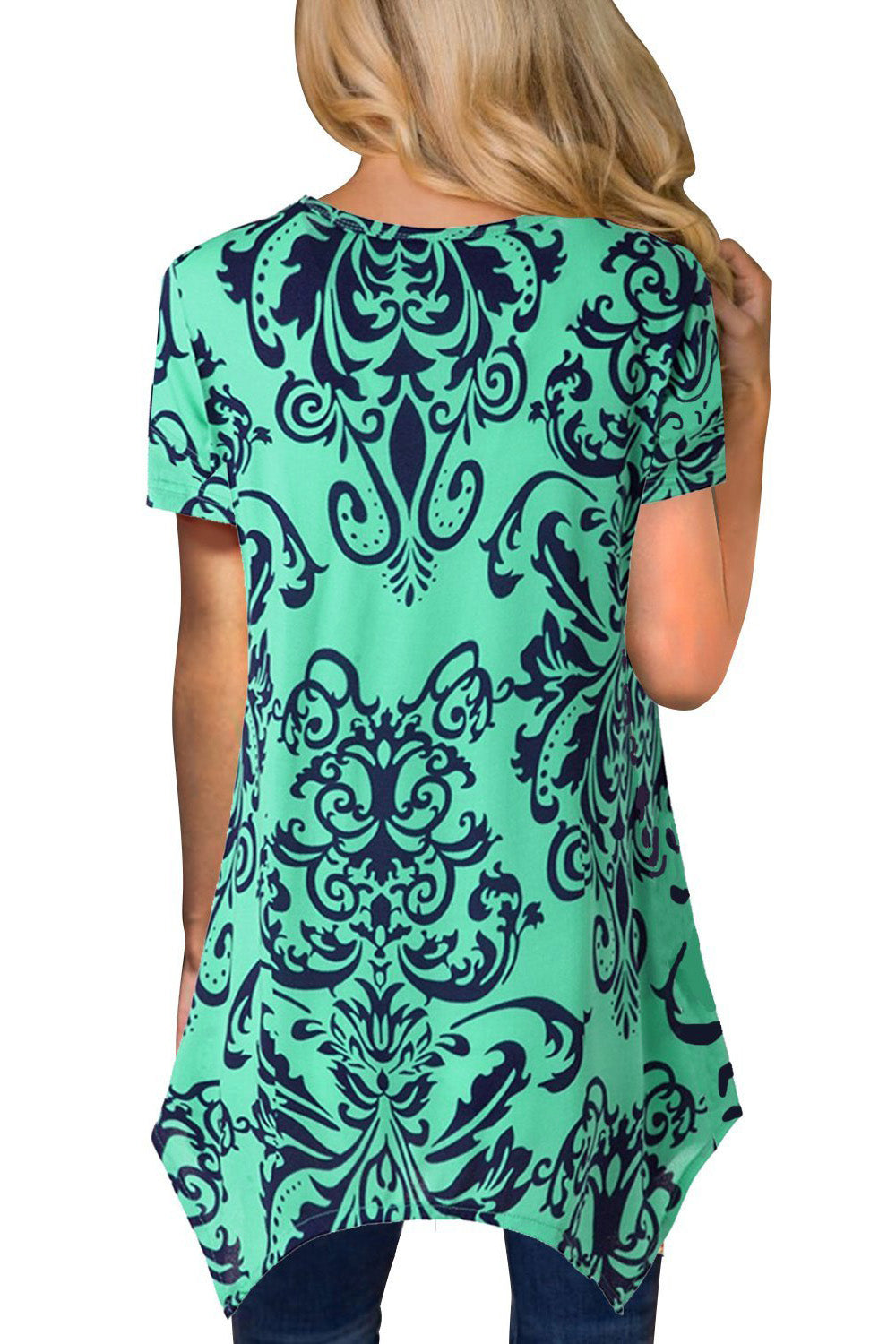 Mint Damask Print Irregular Hem Short Sleeve Blouse