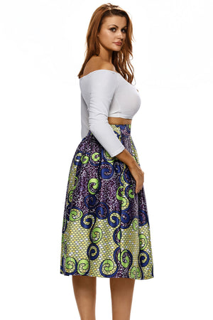 Vintage High Waist Multicolor A-lined Midi Skirt