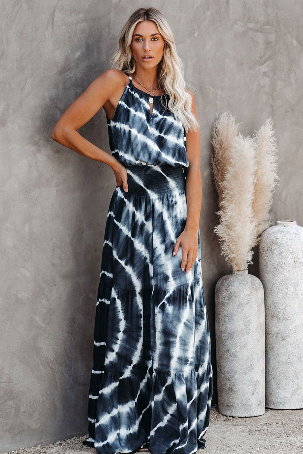Blue Seems Like A Dream Tie Dye Smocked Maxi Dress