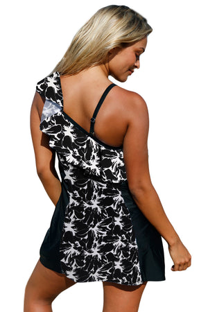 Monochrome Panel Accent 1pc Swim Dress with Shorts