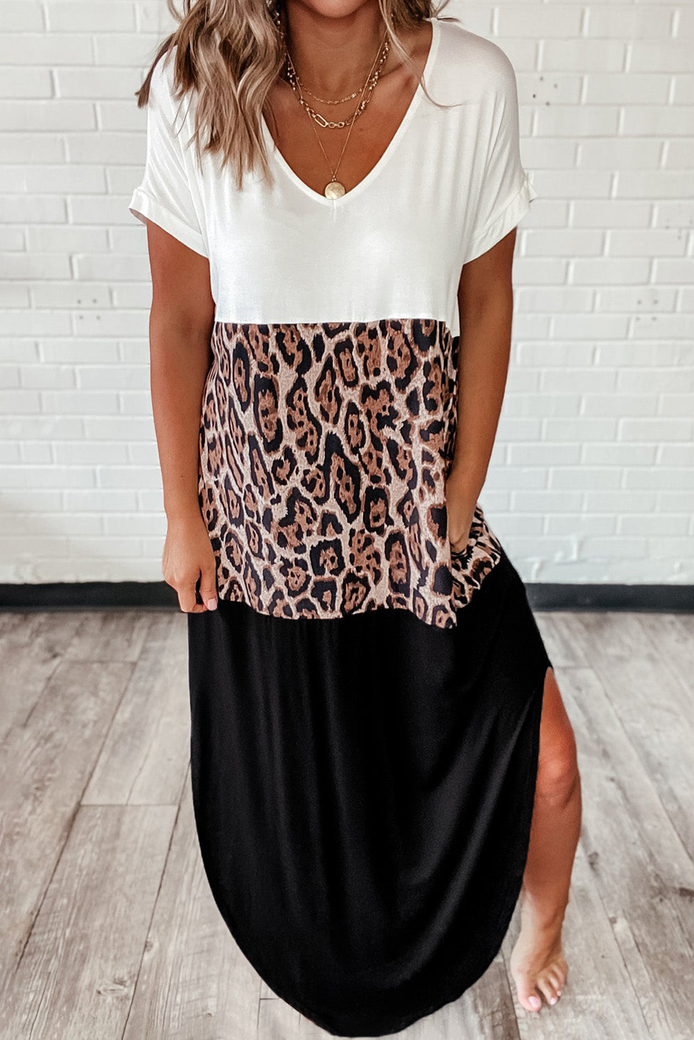 Colorblock Leopard Cotton Blend Casual Maxi T-shirt Dress