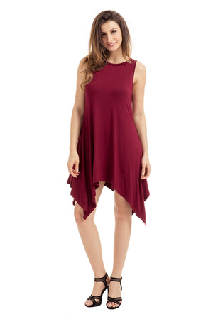 Burgundy Draped Asymmetric Hemline Sleeveless Jersey Dress