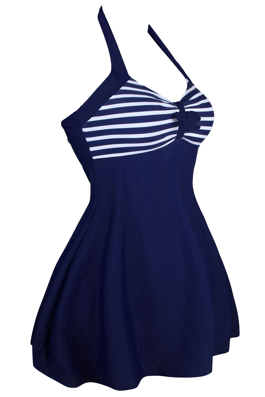Navy White Stripes One-piece Swimdress