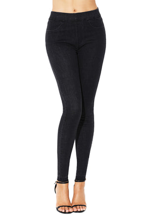 Black Elastic Waist Jeans Stretch Pants for Women