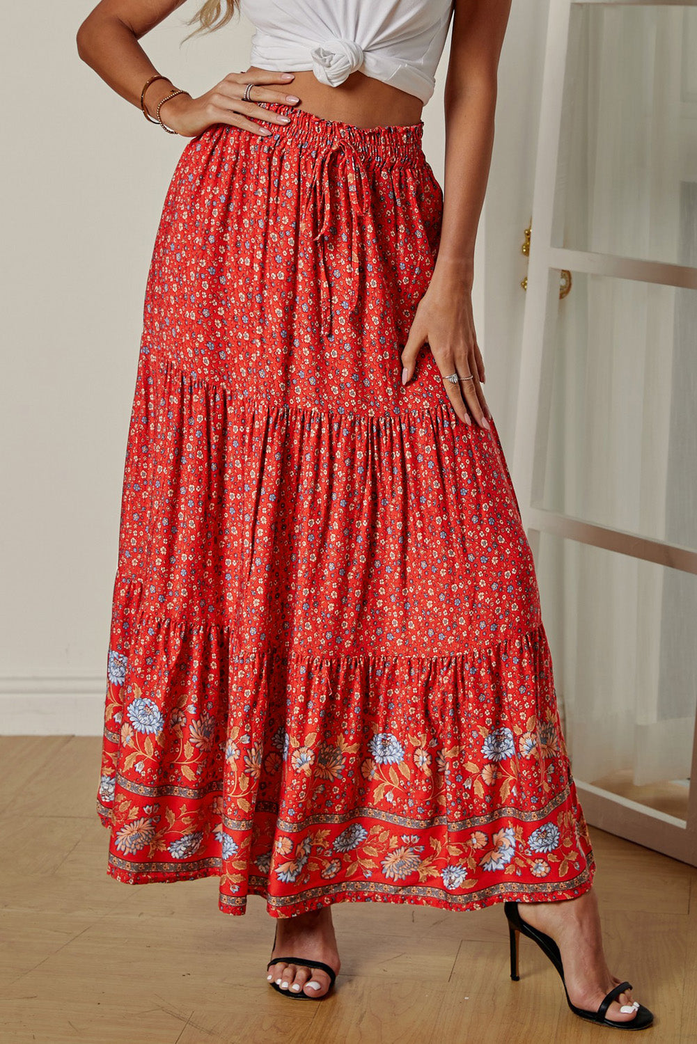Red Boho Floral Print Elastic High Waist Pleated A Line Maxi Skirt