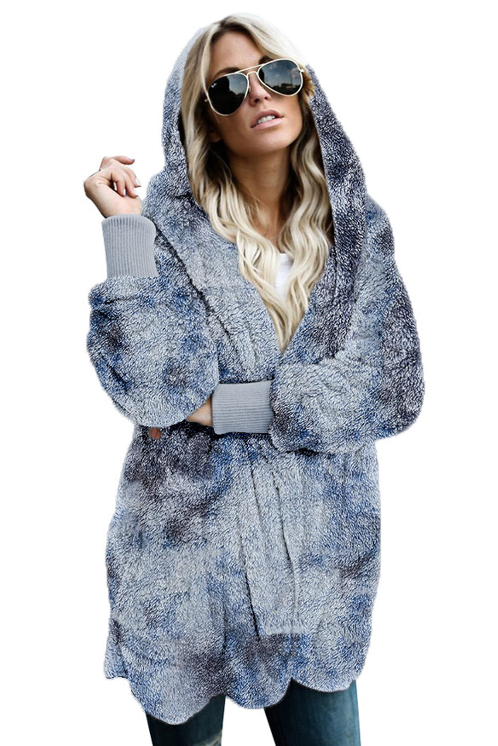 Blue Tie Dye Soft Fleece Hooded Open Front Coat