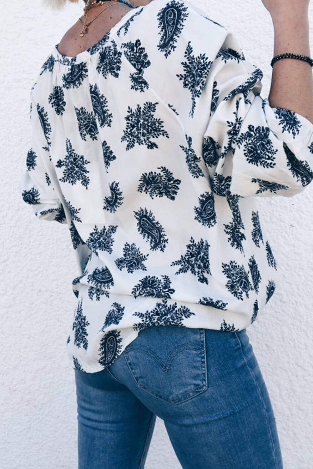 Blue 3/4 Sleeve Print V Neck Loose Casual Blouses Top