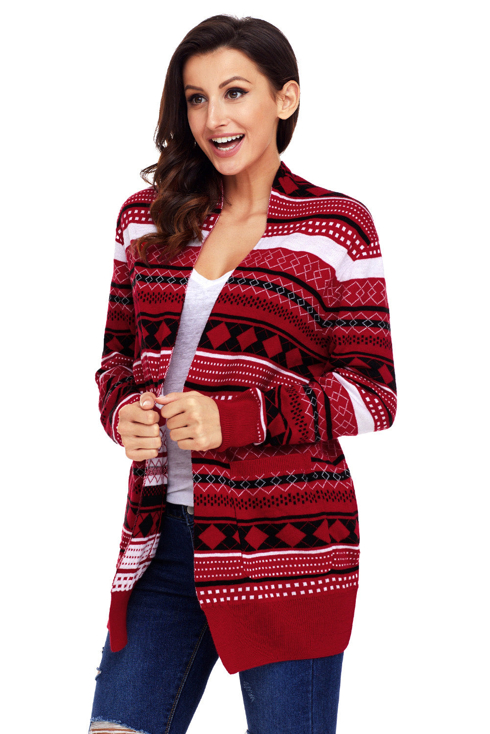 Red White Black Geometric Knit Christmas Cardigan