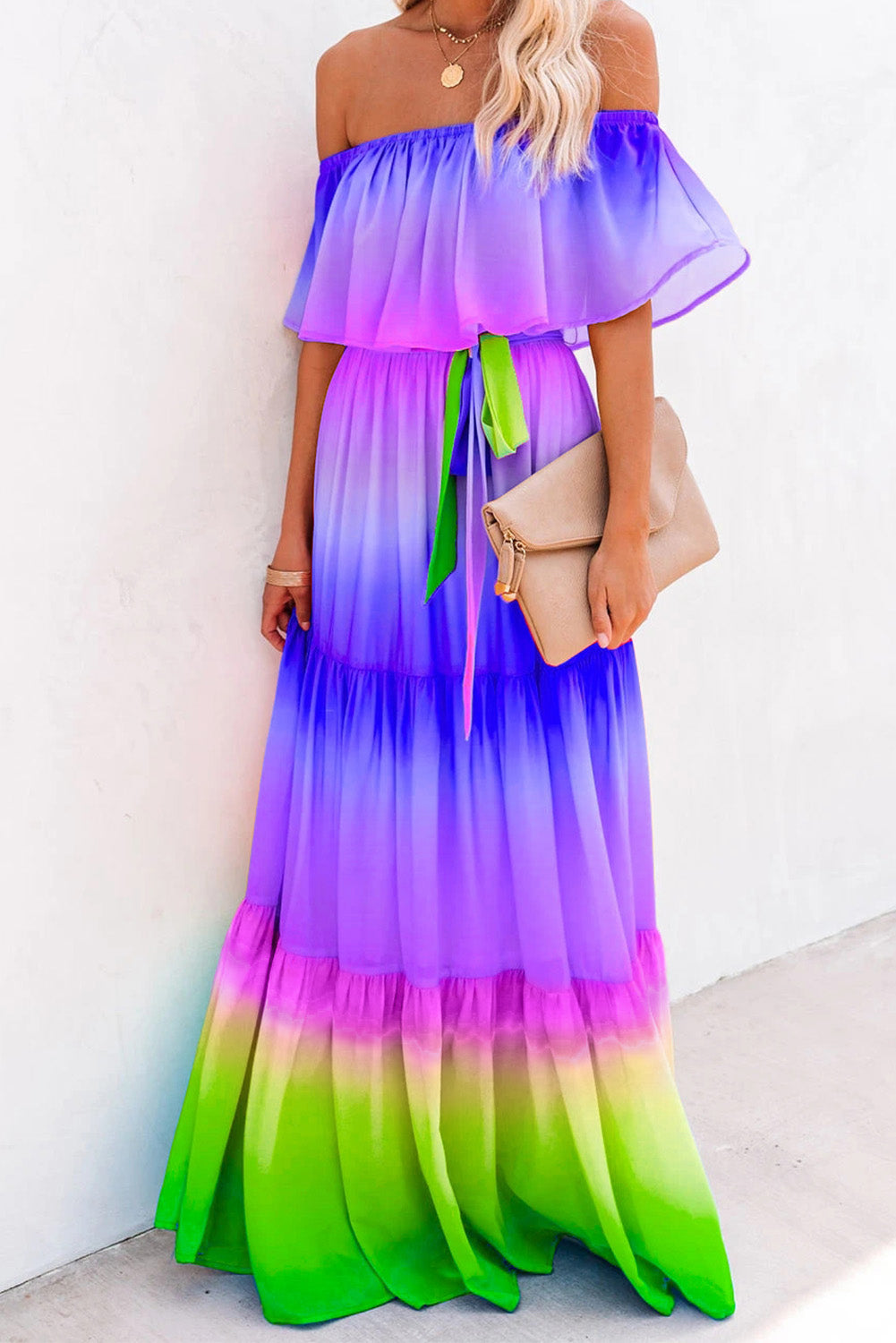 Purple Printed Off-the-shoulder Tiered Maxi Dress