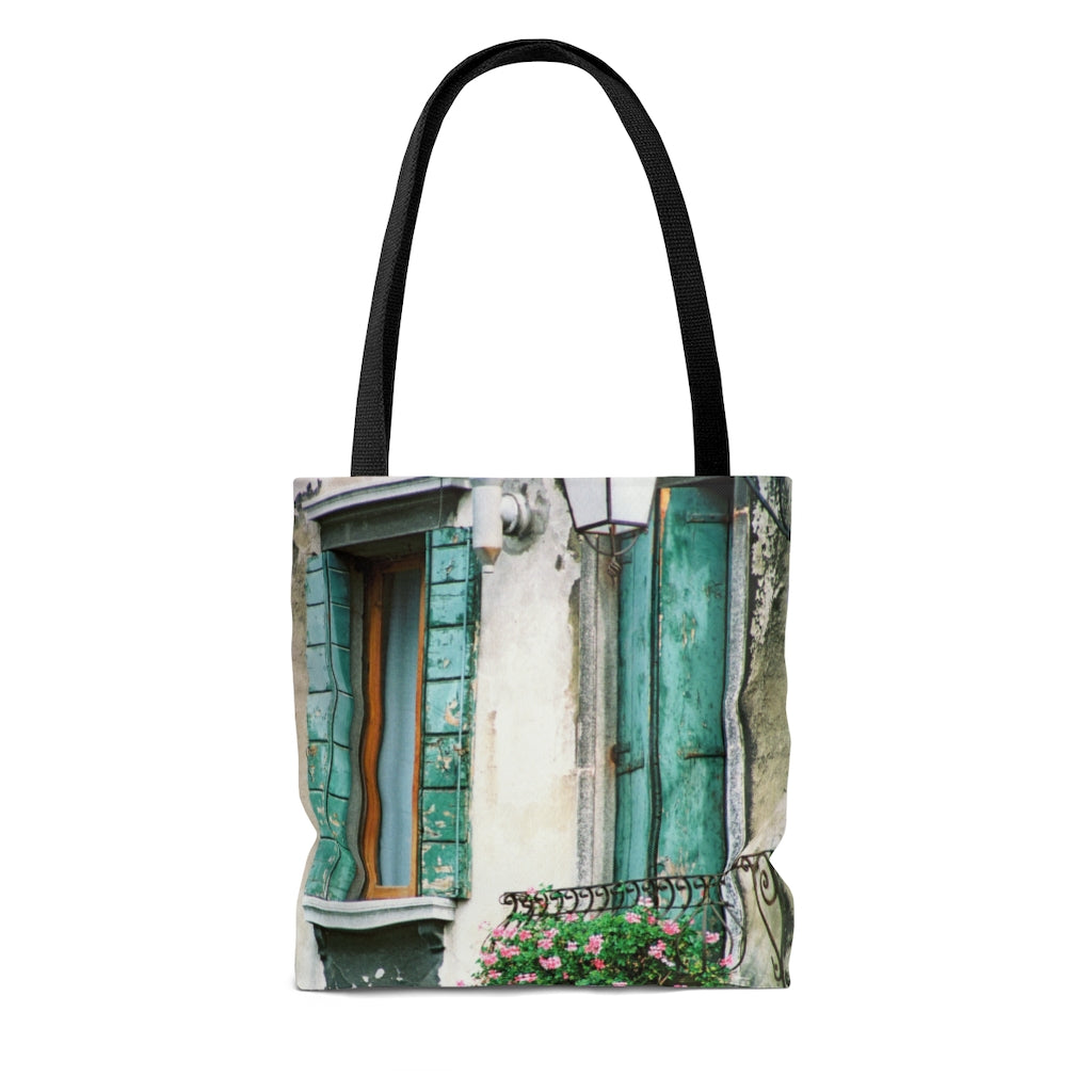 Tote Bag - Turquoise Shutters, Pam Fall
