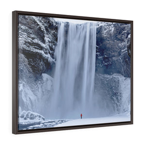 Framed Gallery Wrap Canvas - Skagafoss Falls Big and Red, Michael Cahill