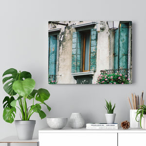 Gallery Wrap - Turquoise Shutters, Pam Fall