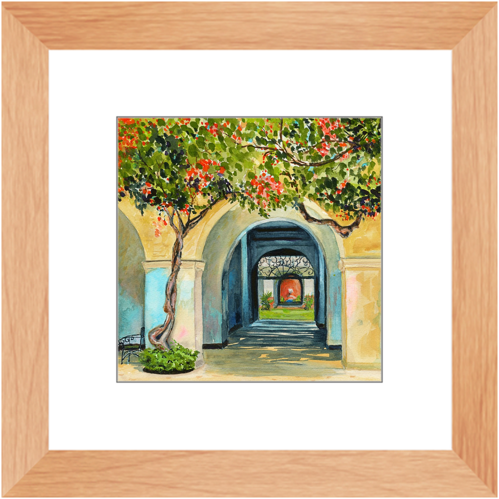 Framed Print - Honolulu Courtyard, Debby Fleming-Mellor