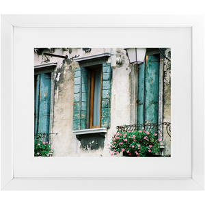 Framed Print - Turquoise Shutters, Pam Fall