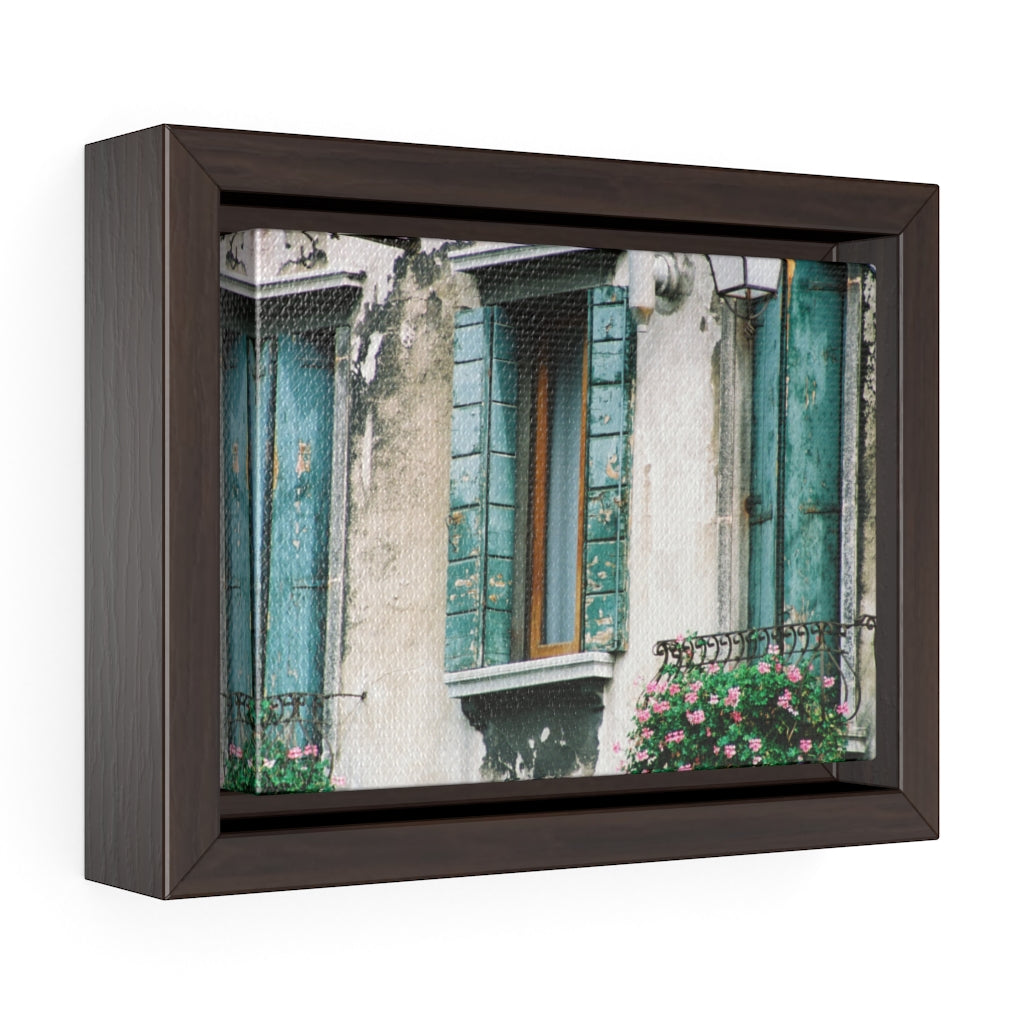 Framed Gallery Wrap - Three Turquoise Shutters, Pam Fall