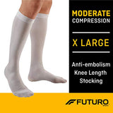 Futuro - 382251077001 Anti-Embolism Knee Highs, Unisex, Moderate Compression,18 mm/Hg, Helps Reduce Formation of Blood Clots White
