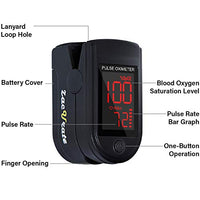 Zacurate Pro Series 500DL Fingertip Pulse Oximeter Blood Oxygen Saturation Monitor with Silicon Cover, Batteries and Lanyard (Royal Black)
