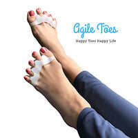 Agile Toes: Toe Separator Toe Spreader Toe Spacer Toe Divider for Therapeutic Relief from Bunions, Plantar Fasciitis, Hammer Toes, Claw Toes & other Foot Conditions, Spa & Pedicures for Men and Women