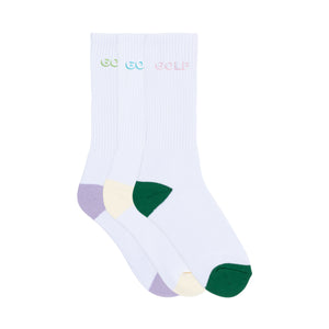 LOGO 3D 2 TONE SOCKS 3PK by GOLF WANG | Multi