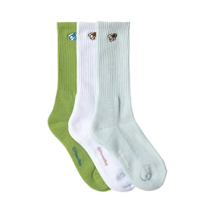 BEE SOCKS (3/PK) by GOLF WANG | Blue/White/Green
