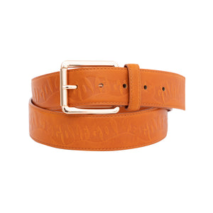 WAVES DEBOSSED LEATHER BELT by GOLF WANG | Brown