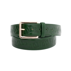 WAVES DEBOSSED LEATHER BELT by GOLF WANG | Green