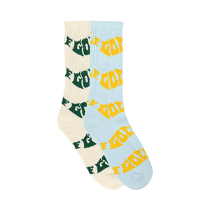 WAVY TERRY 2PK SOCKS by GOLF WANG | Blue/Cream