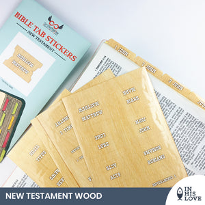 Bible Tab Stickers Old & New testament Set - Wood