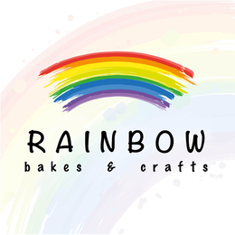 Rainbow Bakes and Crafts Logo with a rainbow background