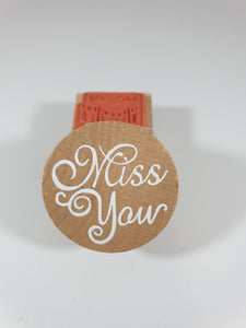 Round miss you Rubber Stamp