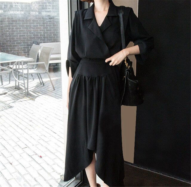 SuperAen 2018 Autumn Temperament Fashion Women Dress Cotton Casual Ladies Dress Irregular Wild New Women Clothing