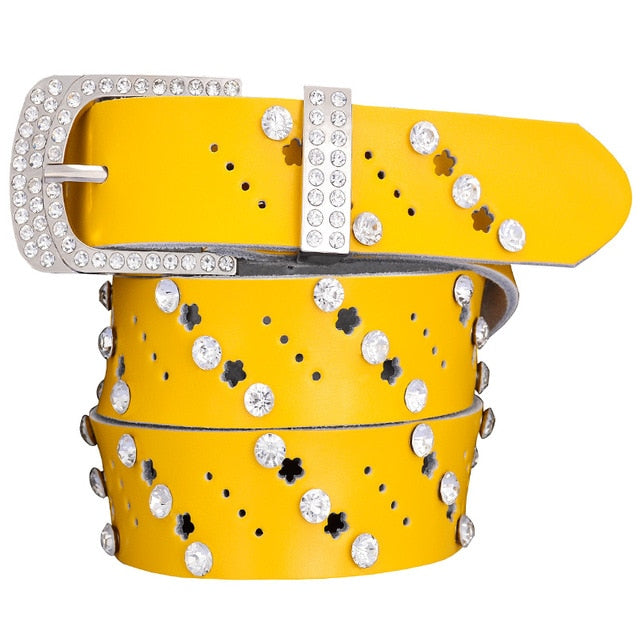 Hollow genuine leather belts for women Fashion rhinestone female belt for jeans Quality cow skin woman waist strap Width 3.3 cm