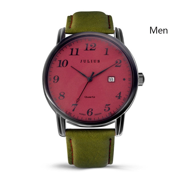 Julius Brand Watches Men Woman Quartz Business Couple Watch Casual Date Waterproof Leather Wristwatch Clock Relogio Masculino