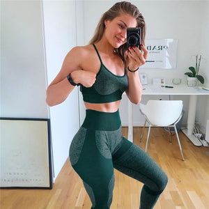 Women Yoga Set Sports Bra With Padded Sexy Gym Set Push Up High Waist Pants Seamless Leggings Sport Clothing Fitness Sportswear