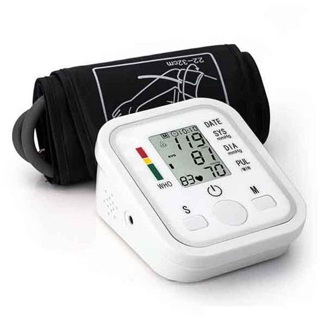 Automatic sphygmomanometer Digital Up Arm BP Blood Pressure Monitor Heart Beat Rate Pulse Meter machine Tonometer pulsometer