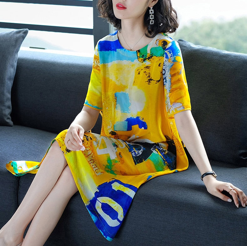 Sweet Women Dress New Spring Summer Loose Print Dresses Imitate Real Silk Dresses Fashion Lady's Beach Casual Clothes