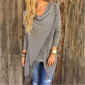 2020 new  Boho Style Autumn Women Tassels Crochet Ladies Knitted Tops Casual Long sleeve shirts Tops Feminino Y95