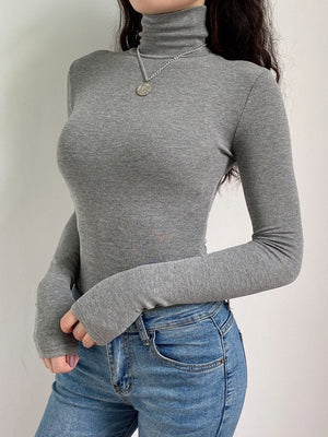 Darlingaga Casual Solid Skinny Turtleneck Long Sleeve Bodysuit Warm Basic Woman Body Fall Winter High Neck Sheer Bodysuits Slim