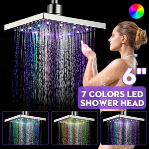 LED Changing Shower Head  Water Flow Spray Temperature Sensor Chrome Finish