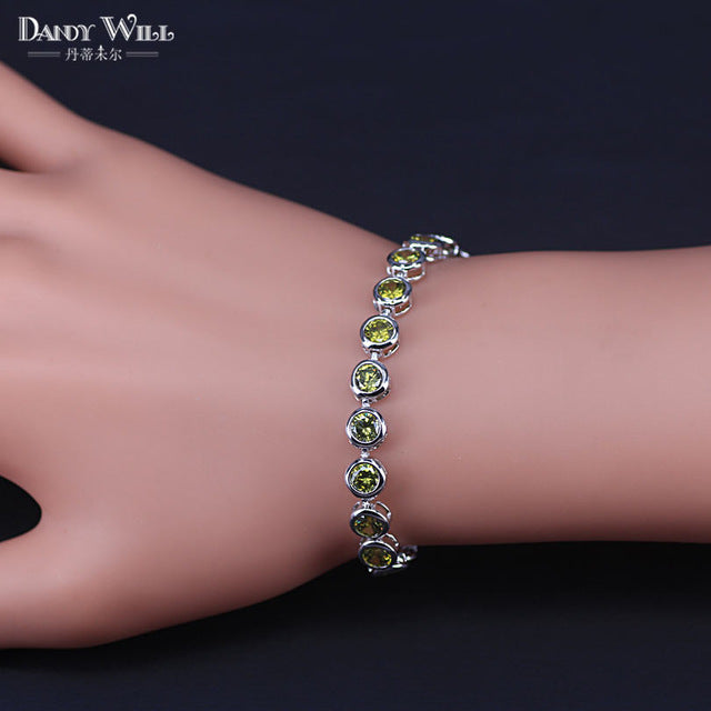 Fashion Ladies Jewelry White Gold Color High Quality Clear Muliticolor Cubic Zirconia Tennis Bracelet For Women