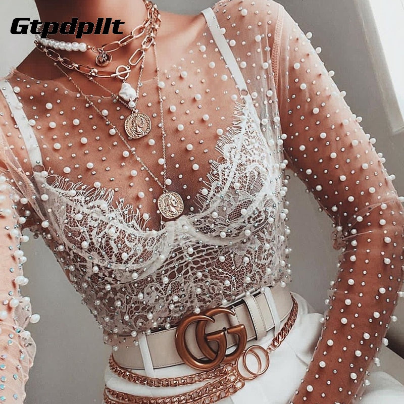 See Through T Shirt Women Mesh Patchwork Diamonds pearl Slim t-shirts Elegant Crop Tops Female 2020 Spring Clothes
