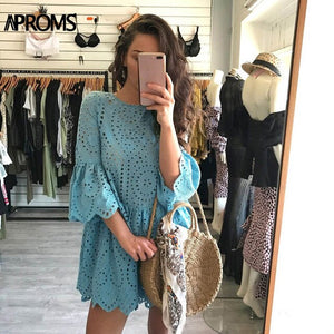 Aproms Elegant White Crochet Lace  Dress Women 2020 Summer 3/4 Sleeve Casual Tunic Dress Beach Loose Short Dress Vestidos