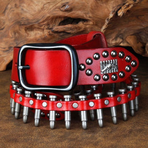 CETIRI Punk Bullet Rivet Belt Men's Top Grain Real Leather Belt Pin Buckle Belt For Jeans Female Personality Cool Gift