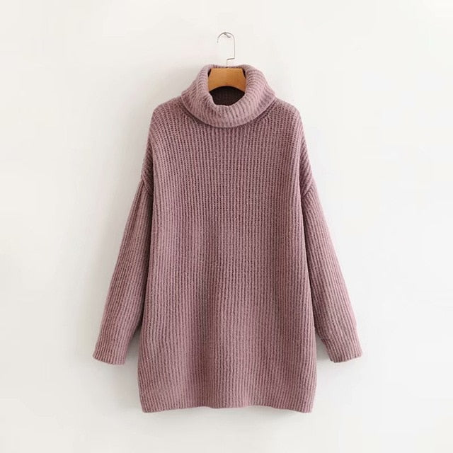 2019 Winter Candy Color Oversized Turtleneck Sweater Hot pink Mustard Color Loose Knitted Jersey