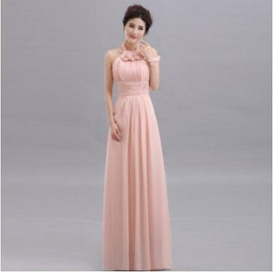 QNZL70Z#Halter neck Lace Up Chiffon Purple Champagne pink Bridesmaid Dresses Long wholesale Custom wedding party dress Flower