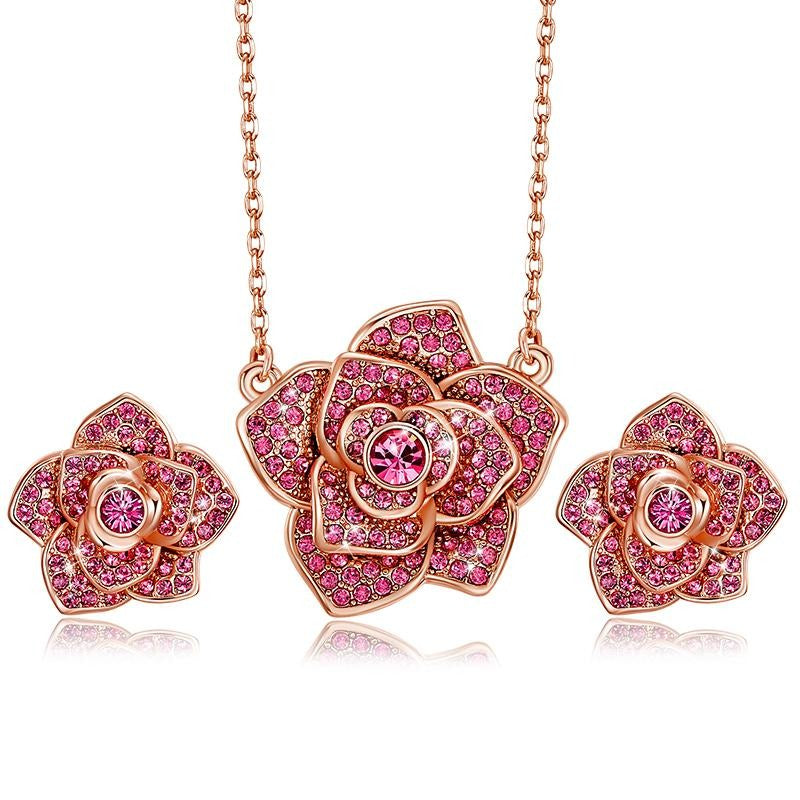 Rose Shaped Necklace & Earrings Set